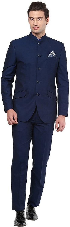 Royal Mens Black Nehru Grandad Collar Suit Ideal for Wedding (44