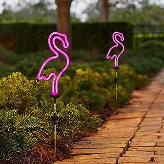 [Set of 2] Flamingo Solar Garden Stake Lights, Outdoor Solar Pathway Light for Lawn Patio Yard Walkway, Neon Pink Lighting...