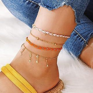 Ushiny Boho Crystal Weave Cavigliera Stella d'oro Perline Corda Braccialetto alla caviglia Strass Cavigliere Spiaggia esti...