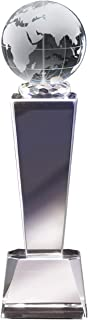 Awards and Gifts R Us Customizable Optical Crystal Globe Column Trophy, includes Personalization