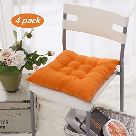 Chair Cushion 40x40cm, Laoyel Square pad with tie for Travel Aircraft/car / Outdoor Bench/Dining Chair - Protect The Hips 4pack (Orange)