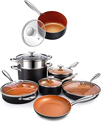 MICHELANGELO 12 Piece Copper Pots and Pans Set + 2 Quart Saucepan with Lid, Nonstick Copper Cookware Set with Ceramic Titanium Coating, Ceramic Cookware Set, OVEN Safe