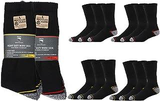 Iron Mountain Workwear Mens Padded Heel Toe Comfortable Heavy Duty Work Socks 12 Pack, Black, One Size (6-11/EU 39-45)