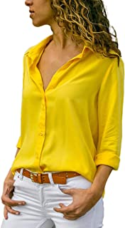 competitive price dacda f5231 Amazon.it: camicia donna elegante - Giallo / Bluse e camicie ...