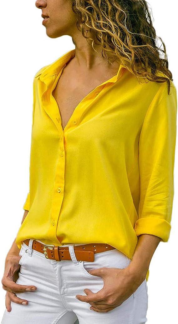 Blusas Mujer Primavera 2019 Mujer Blusa Casual Sólido Gasa Camisa de Manga Larga con Botones de Solapa