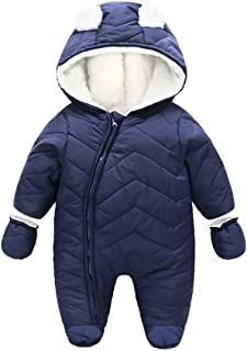 Baby Boy Girl Winter Hooded Puffer Jacket Snowsuit with Gloves