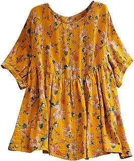 Womens Shirts,✔ Hypothesis_X ☎ Cotton Linen Print T-Shirt Button Tanic Shirt Casual Plus Size Loose