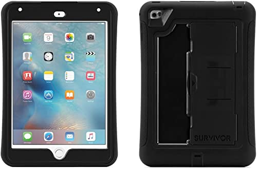 lowest Griffin iPad Mini 4 Case with Built-in Stand, Black Survivor Slim, lowest Slim Protective Shock sale Absorption Built-in Screen Protection Polycarbonate Silicone sale
