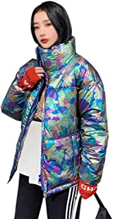 LUKEEXIN Fashion Glossy Down Jacket Short Loose Cotton Jacket Coat for Women
