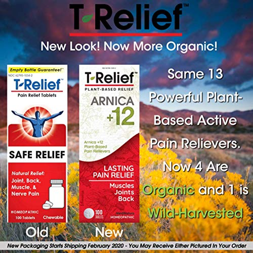 MediNatura T-Relief Arnica +12 Natural Pain Relievers Reduce Pain,Soreness, Aches, Stiffness - Fast-Acting - 100 Tablets (Pack of 3)