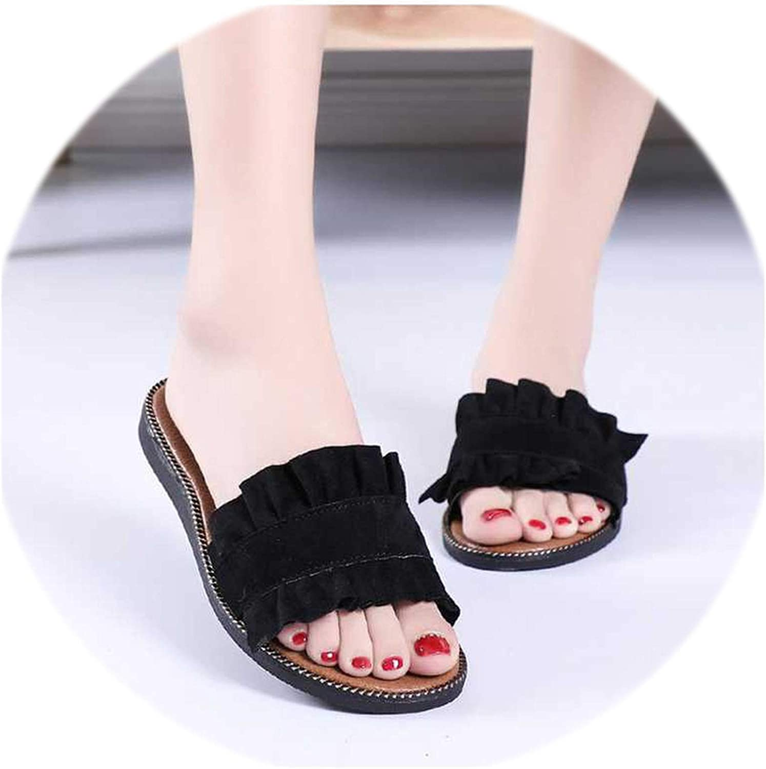 Rather be Summer Fashion Ruffles Flat Slippers Beach Slippers Home Flip Flops Slides Comfortable Home Flat Sandal shoes