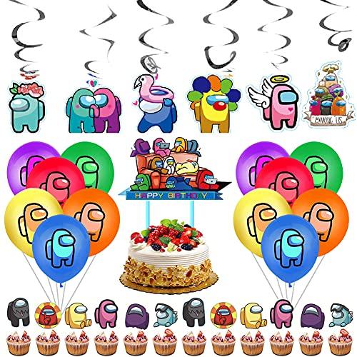 Babioms 43Pcs Cumpleaños Decoracion de Among Us, Espiral, Adorno para Tarta, para Niños Adultos Decoraciones de Fiest