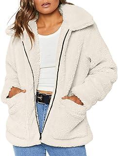 Giubbotto Invernale Pelliccia Sintetica Donna Cappotto Corto Elegante Peloso Giacca di Lana Autunno Cardigan Casuale Classico Parka da Donna Felpa Outwear
