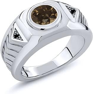 1.73 Ct Round Brown Smoky Quartz Black Diamond 925 Sterling Silver Men's Ring