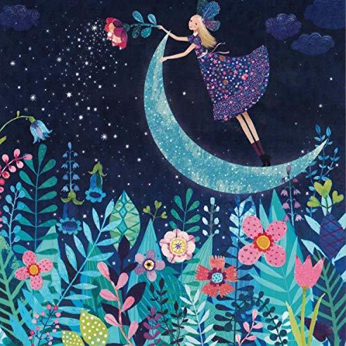 Mila Marquis Postkarte 140x140mm ~ Elfe & Mond ~ Glitzer
