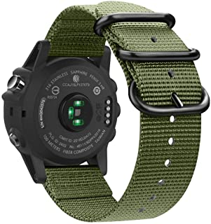 Fintie Band for Garmin Fenix 6X / Fenix 5X Plus/Tactix Charlie Watch, 26mm Premium Woven Nylon Adjustable Strap for Fenix ...