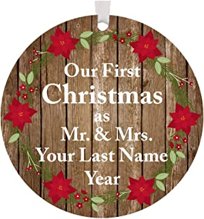 The Trendy Turtle Personalized 2019 Our First Christmas as Mr. and Mrs. with Poinsettia Flowers Acrylic Christmas Tree Ornament Gift with Your Choice of Custom Last Name - 3.5 inches