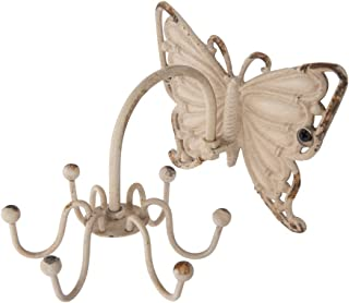 NIKKY HOME Butterfly Pewter Wall Hooks, White