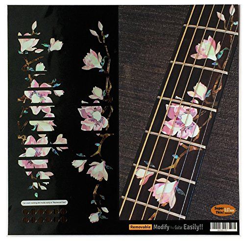 Fretboard Markers Inlay Stickers Decals for Guitars - Magnolia Flowers