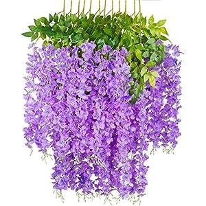 GPARK 12 Pieces (Each 45 inch) Wisteria Artificial Flower Bushy Silk Vine Ratta Hanging Garland Hanging for Wedding Party Garden Outdoor Greenery Office Wall Decoration Purple