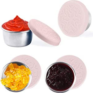 Salad Dressing Containers Set, KARYHOME Small Condiment Containers with Silicone Lids, Leakproof & Reusable for Condiments, Snacks, Dipping Sauce, Stainless Steel, 4x1.6oz, Pink