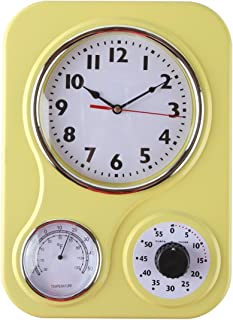 Lily's Home Retro Kitchen Wall Clock, with a Thermometer and 60-Minute Timer, Ideal for Any Kitchen, Yellow (9.5 in x 13.3 in)