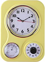 Lily's Home Retro Kitchen Wall Clock, with a Thermometer and 60-Minute Timer, Ideal for Any Kitchen, Yellow (9.5 in x 13.3...