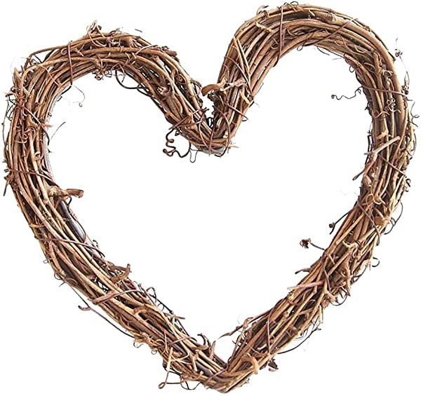 LOVIVER Grapevine Wreath Vine Branch Wreath Decorative Wooden Twig For Craft Decor Door House Holiday 3 Shape 3 Size Pick Heart Shape 20cm