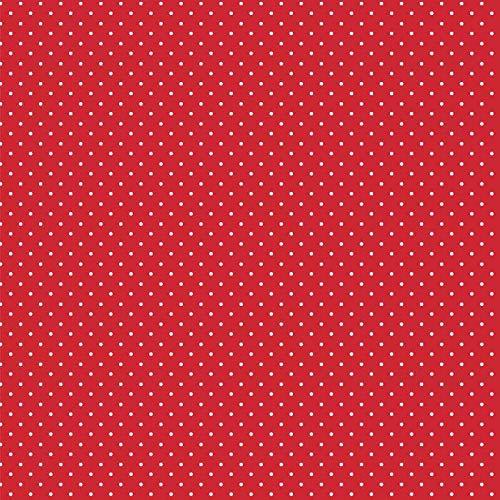 babrause® Baumwollstoff Pünktchen Rot Webware Meterware Popeline OEKOTEX 150cm breit - Ab 0,5 Meter
