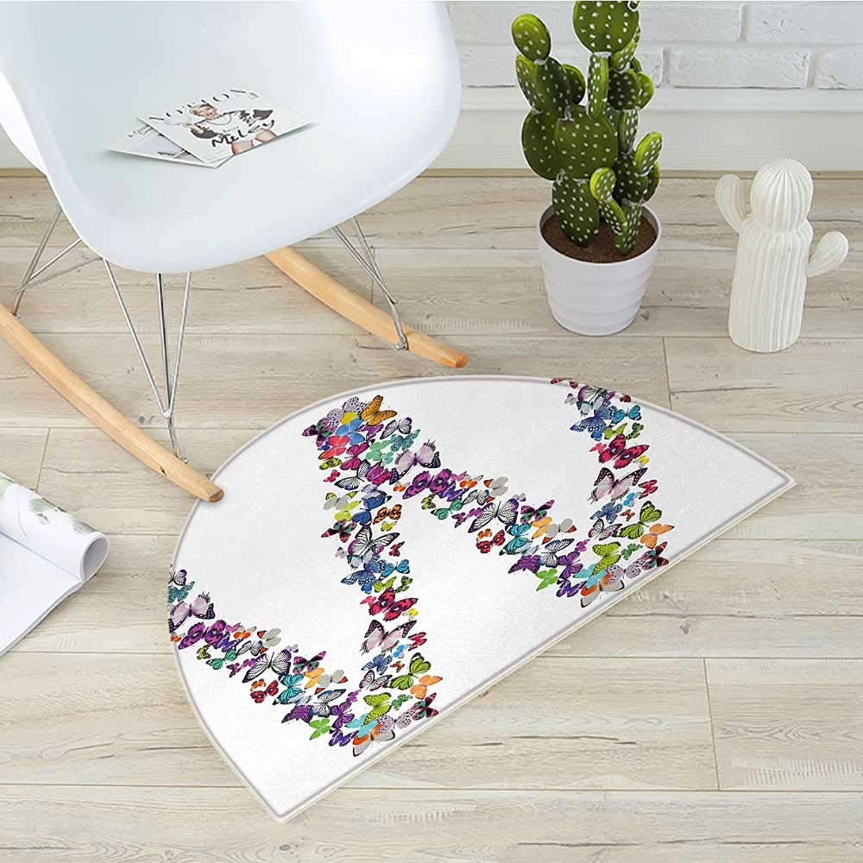 Letter W Half Round Door mats Collection of Butterflies Language of Grace Alphabet Font Letter W Girls Design Bathroom Mat H 39.3  xD 59  Multicolor