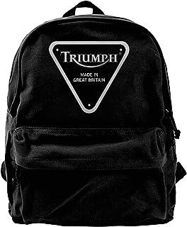 Triumph Motorcycles Pack Canvas Mochila Clásica Negra Escolar Caminar al Trabajo