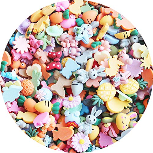 SUKPSY 50 Pcs Mix Candy Color Resin Flatback Slime Charms Flower Bow Fruit Animal Buttons Embellishments Making Supplies for Hair Clip Headband Scrapbooking Cell Phone Case Easter DIY Craft