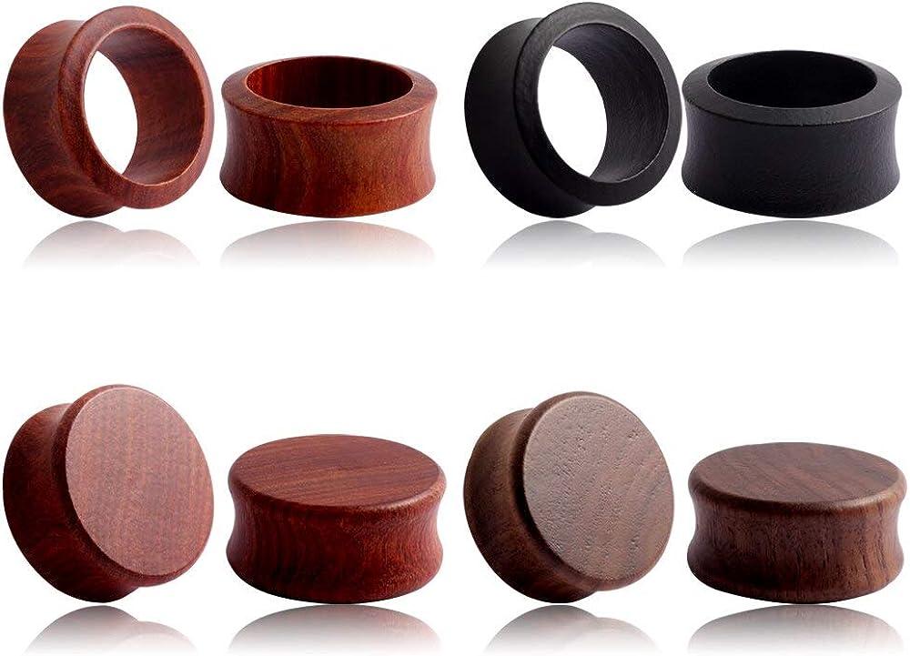 Casvort 8 PCS Sandalwood Walnut Wood Double Flared Ear Plugs Tunnels Gauges Stretcher Piercings Body Jewelry (0g-1'')