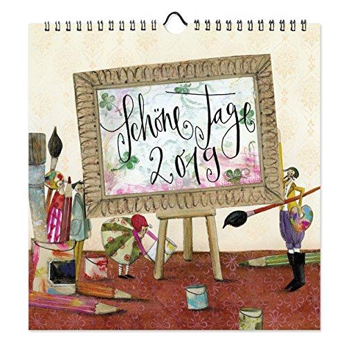 Dekorativer Wandkalender 2019, praktischer Monatsplaner zum Aufhängen mit Motiven, 12 Monatsseiten mit extra viel Platz zum Termine eintragen