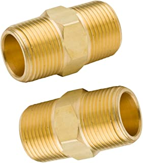 """Legines Brass NPT Hex Nipple 3/4"""" Male x 3/4"""" Male Pipe Fitting (Pack of 2)"""