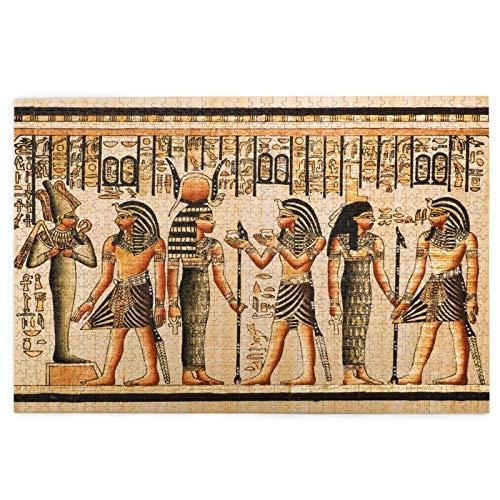 Airmark Rompecabezas de 1000 Piezas,Rompecabezas de imágenes,Papiro Egipcio mostrando faraón Dioses de Tutankamón,Juguetes Puzzle for Adultos niños Interesante Juego Juguete Decoración para El Hogar
