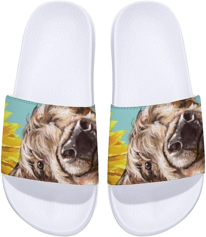 Highland Cow with Sunflowers Men's and Women's Comfort Slide Sandals Indoor Outdoor