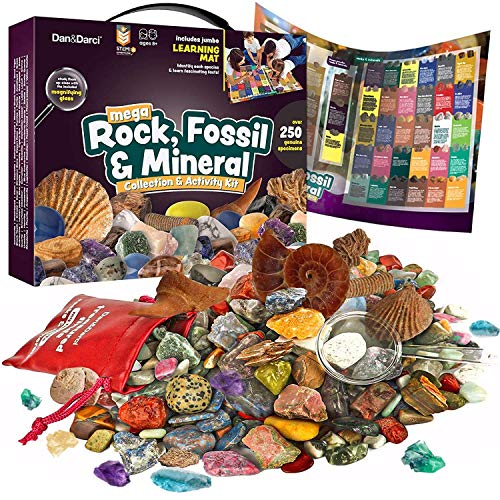 Rock, Fossil & Mineral Collection & Activity Kit. Includes 250+ Real Gemstones, Crystals Specimens & Jumbo Learning Mat - Science Gift for Kids - Bulk Rough Rocks, Polished Gem Stones, Genuine Fossils