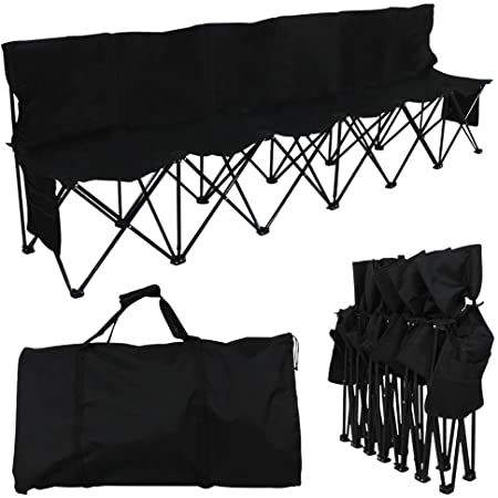 BenefitUSA Folding Team Sport Sideline Bench 6 Seater with Carry Bag