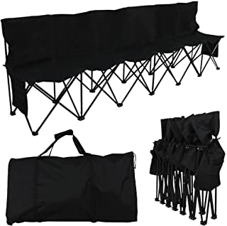 Yaheetech 6 Seats Foldable Sideline Bench with Back for Sports Team Camping Folding Bench Chairs Blue/Black