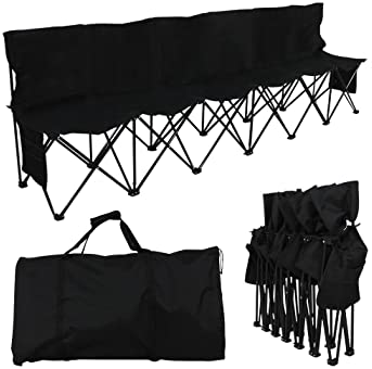 YAHEETECH 6 Seats Portable Sideline Folding Bench Soccer Team Bleacher Chair Outdoor Sports Black W/Carry Bag