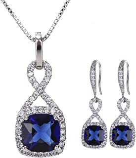 AMYJANE Crystal Jewelry Set for Women - Sterling Silver...