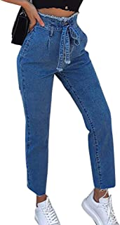 NEW PLAY Donna Jeans Slim Pantaloni Denim Stretch a Righe Bianche e nereda Taglia 40