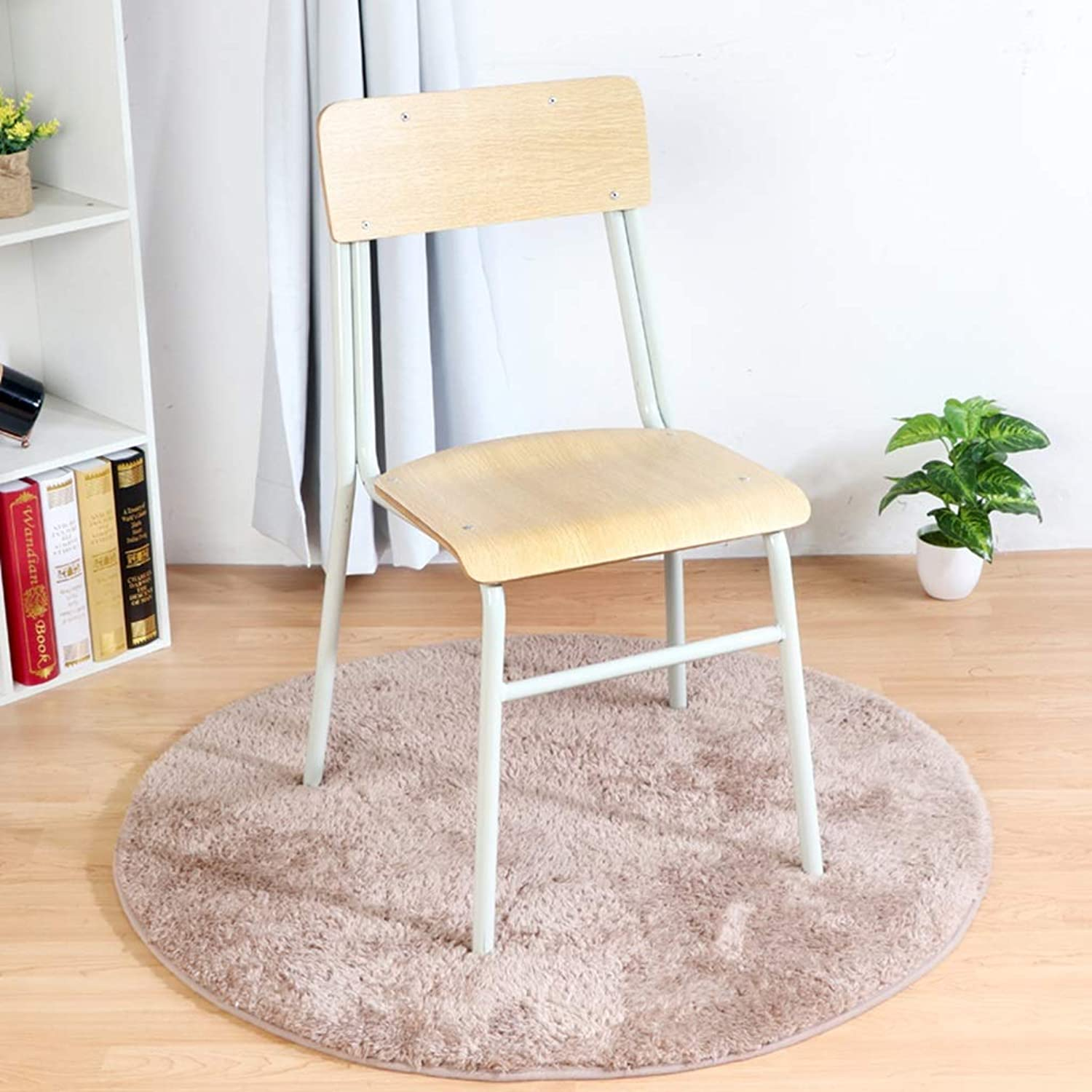 Fast Food pad Shop Chair, Coffee Shop Tea Shop Chair Wood Metal with backrest High Stool Living Room Kitchen Bench Height 80CM (color   Wood color)
