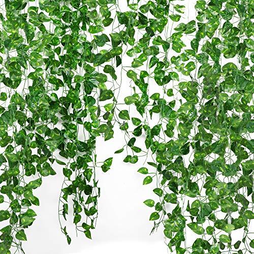FLOFIA Plantas Artificiales Colgantes (12pcsx2,1m) Hojas Vid Enredadera Artificial Eneldo Verde Decorativa para Decoración Exterior Interior Balcón Patio Valla Jardín Boda Fiesta