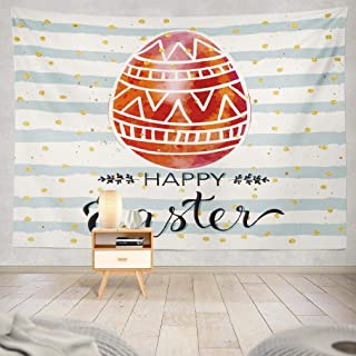 KJONG Watercolor Easter Egg Wall Tapestry, Happy Easter Greeting Card with Doodle Eggs and Wall Tapestry 80X60 Inches Wall Hanging Tapestry Wall Art for Bedroom Living Room, Happy Easter