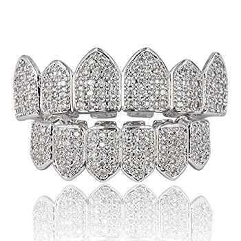 JINAO 18K Gold Plated Macro Pave CZ Iced Out Grillz With EXTRA Molding Bars Included  Silver set