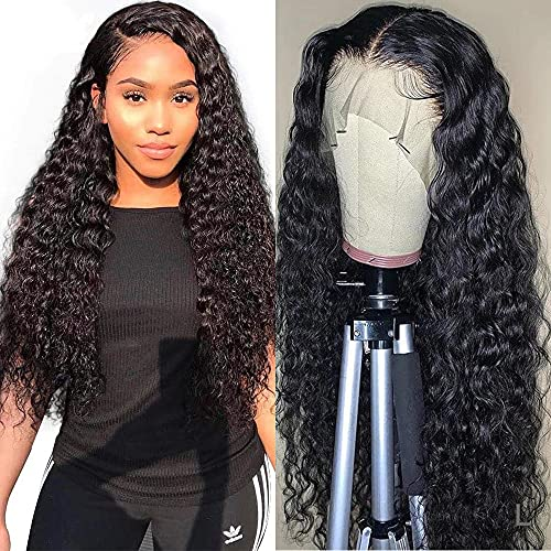 13x4 Lace Front Wigs Human Hair Deep Wave Wig, 22 Inch Deep Curly Wet Wavy Lace Frontal Wig Pre Plucked with Baby Hair 150% Density Unprocessed Virgin Human Hair Wigs for Women