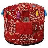 Maniona Crafts Puf indio para sala de estar, taburete de pie, redondo otomano,...