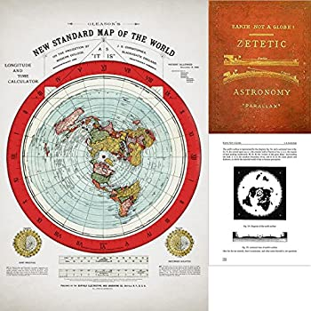 Flat Earth Map - Gleason s 1894 New Standard Map Of The World - 24  x 36  Poster - Includes FREE eBook - Zetetic Astronomy by Samuel Rowbotham
